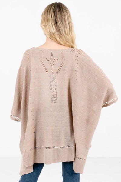 Women's Taupe Brown Unique Cutout Detailed Boutique Poncho
