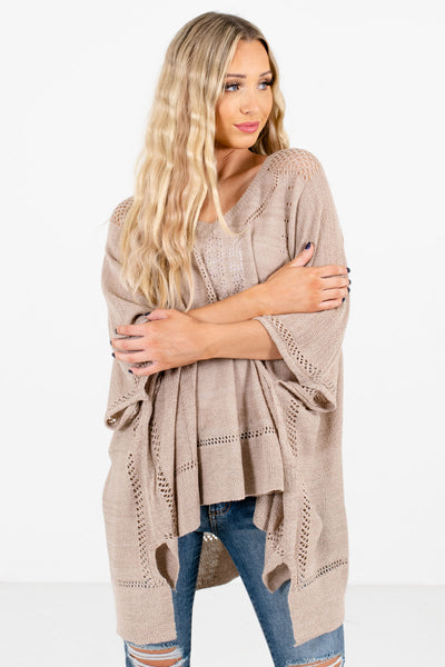 Women's Taupe Brown Casual Everyday Boutique Ponchos