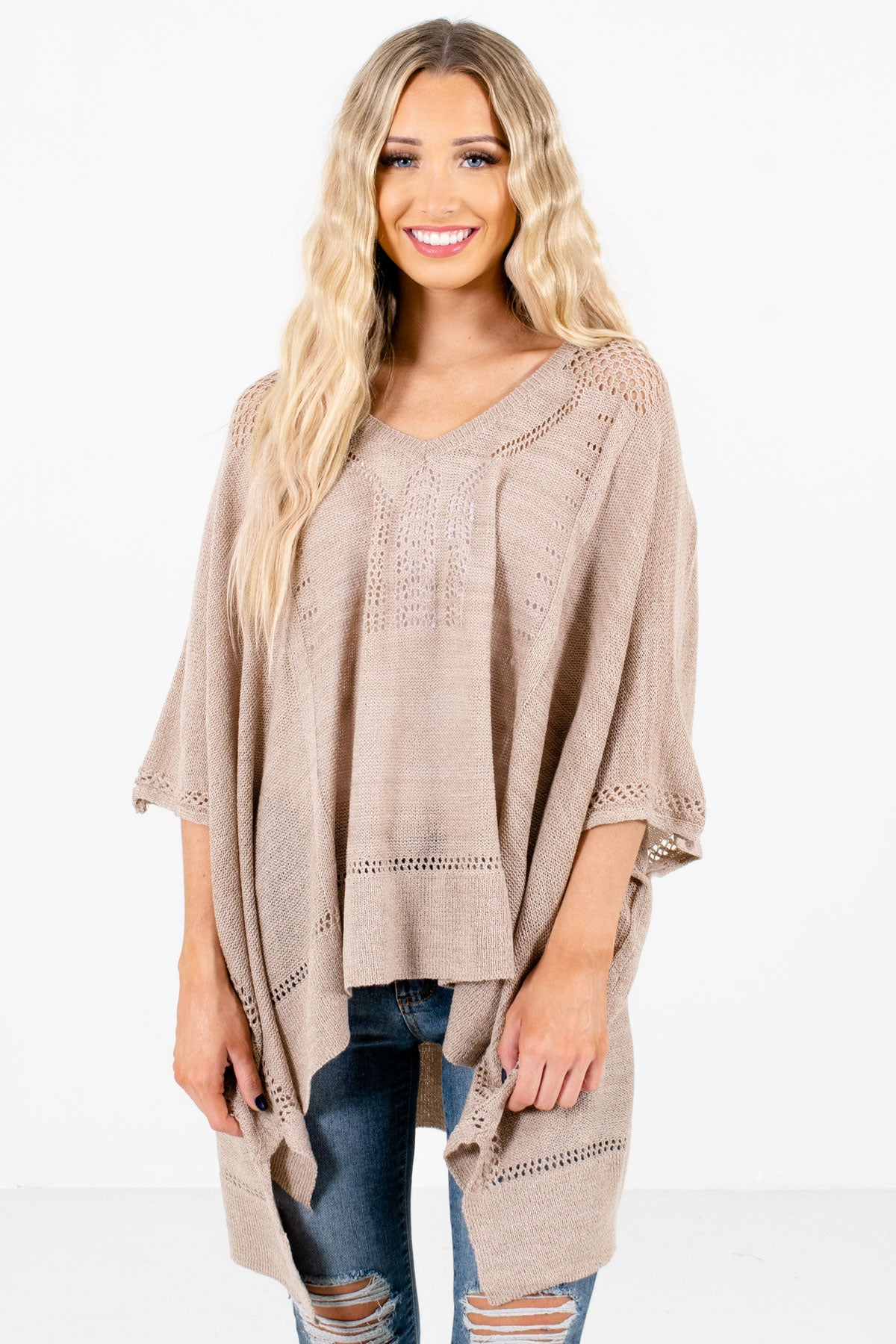 Taupe Brown Lightweight Knit Material Boutique Ponchos for Women