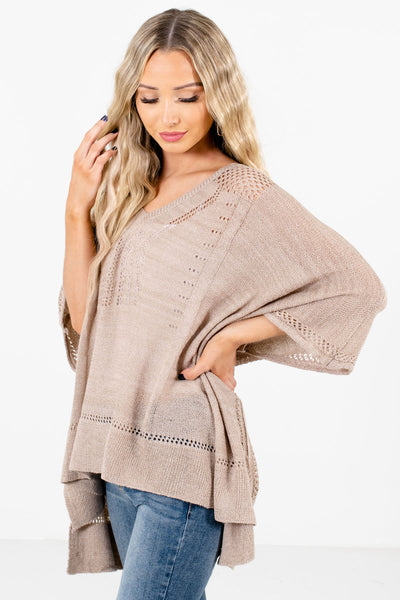 Taupe Brown Layering Boutique Ponchos for Women