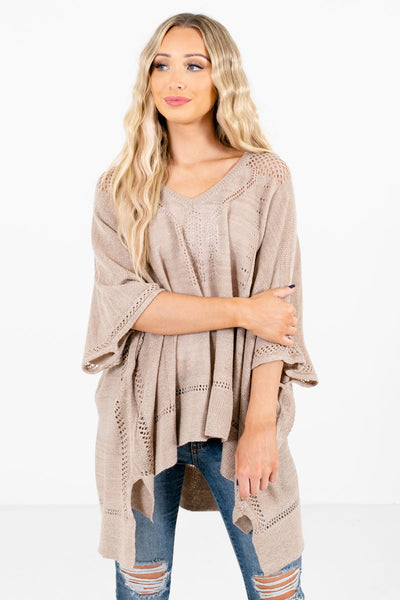Women's Taupe Brown Warm and Cozy Boutique Poncho