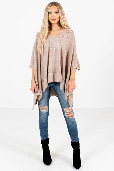 Taupe Brown Cute and Comfortable Boutique Ponchos for Women