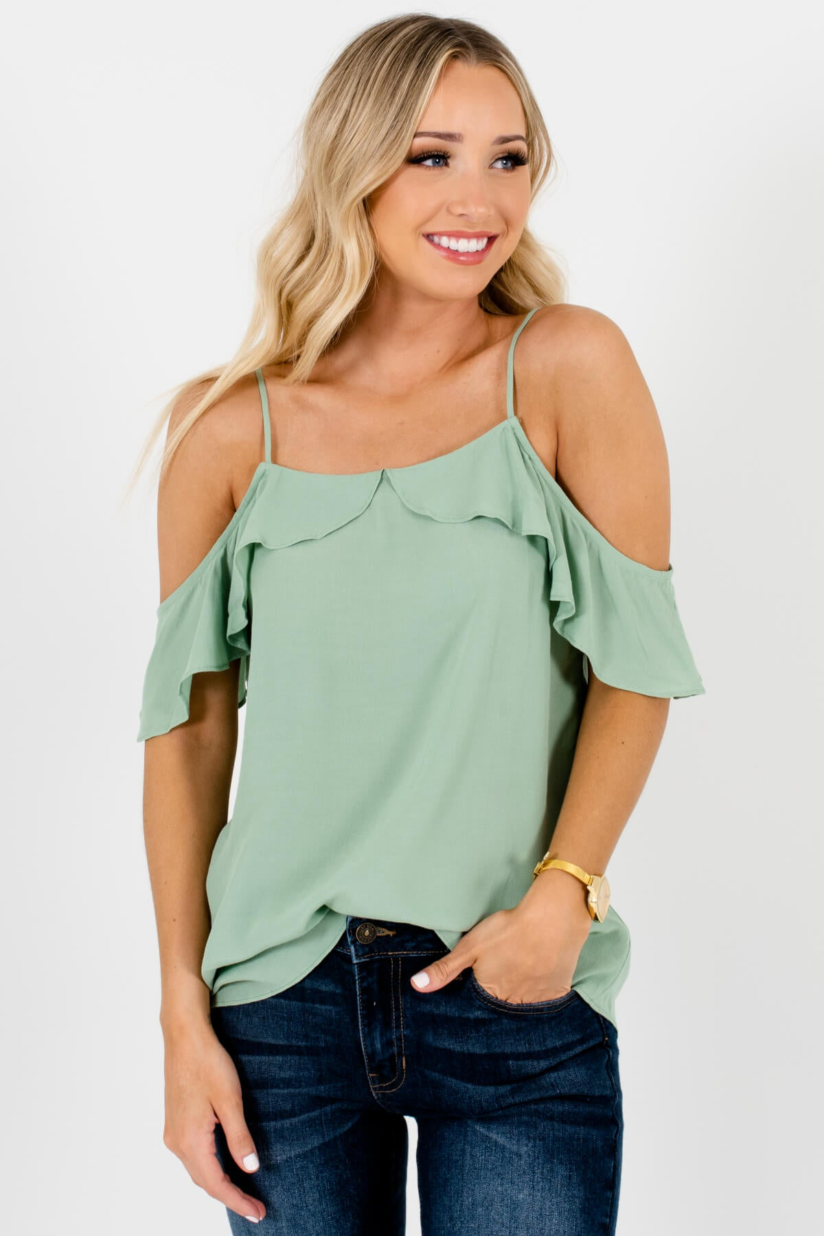 Green Ruffle Cold Shoulder Tops Affordable Online Boutique