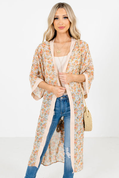 Pink Multicolored Floral Patterned Boutique Kimonos for Women
