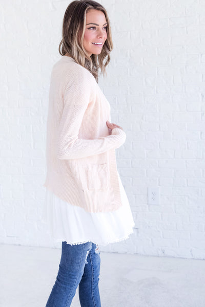 Just Forget the World Peach Knit Cardigan