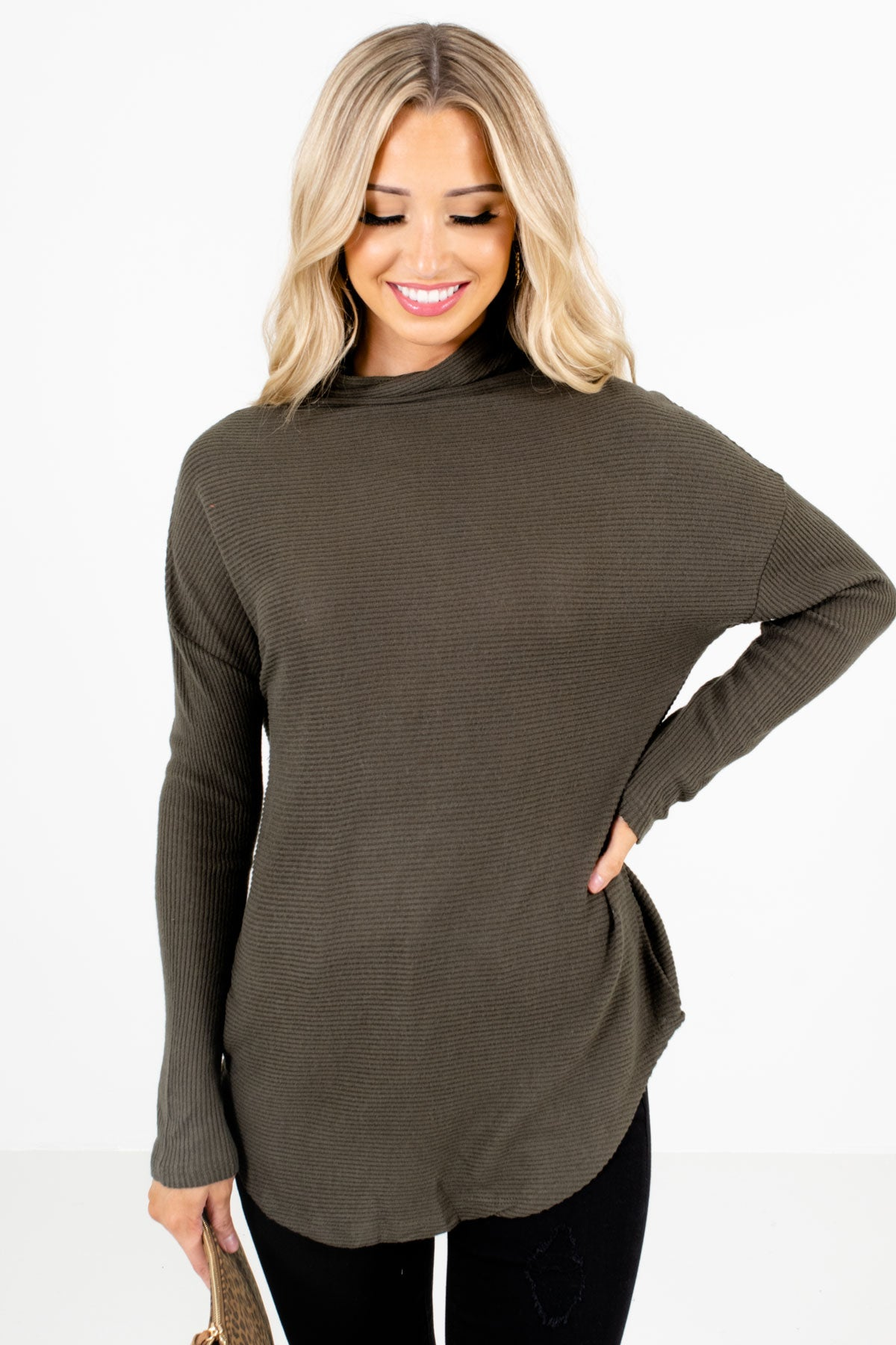 Olive Green Cowl Neck Style Boutique Sweaters for Women