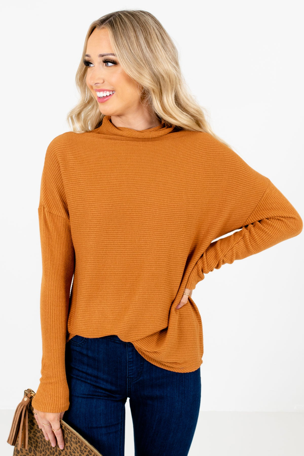 Tawny Orange Cowl Neck Style Boutique Sweaters for Women
