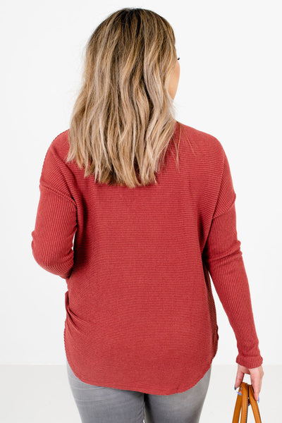 Women's Brick Red Long Sleeve Boutique Sweater
