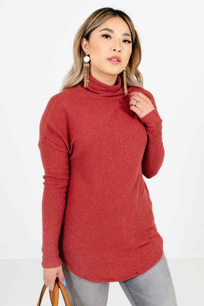 Brick Red Cowl Neck Style Boutique Sweaters for Women