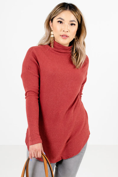 Women's Brick Red Relaxed Fit Boutique Sweaters