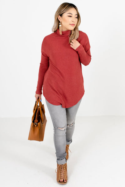 Women's Brick Red Fall and Winter Boutique Clothing