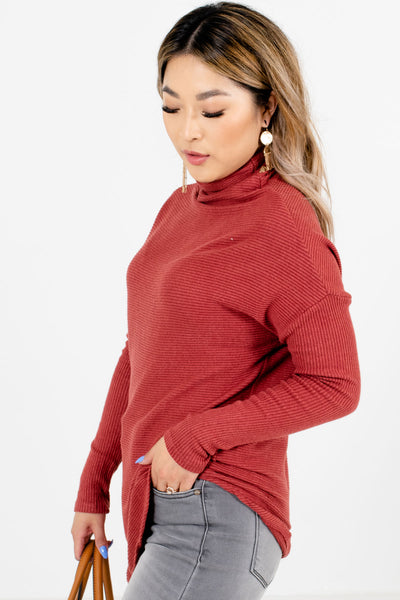 Brick Red High-Quality Ribbed Material Boutique Sweaters for Women