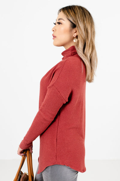 Women's Brick Red Lightweight Boutique Sweater
