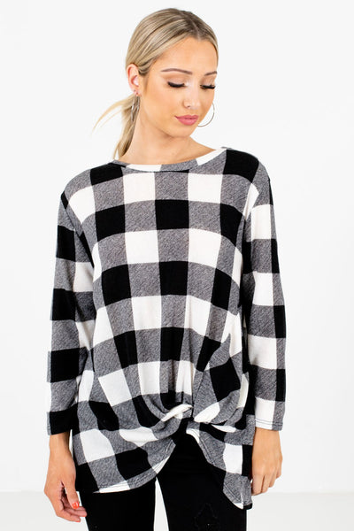 Black and White Plaid Patterned Boutique Tops for Women