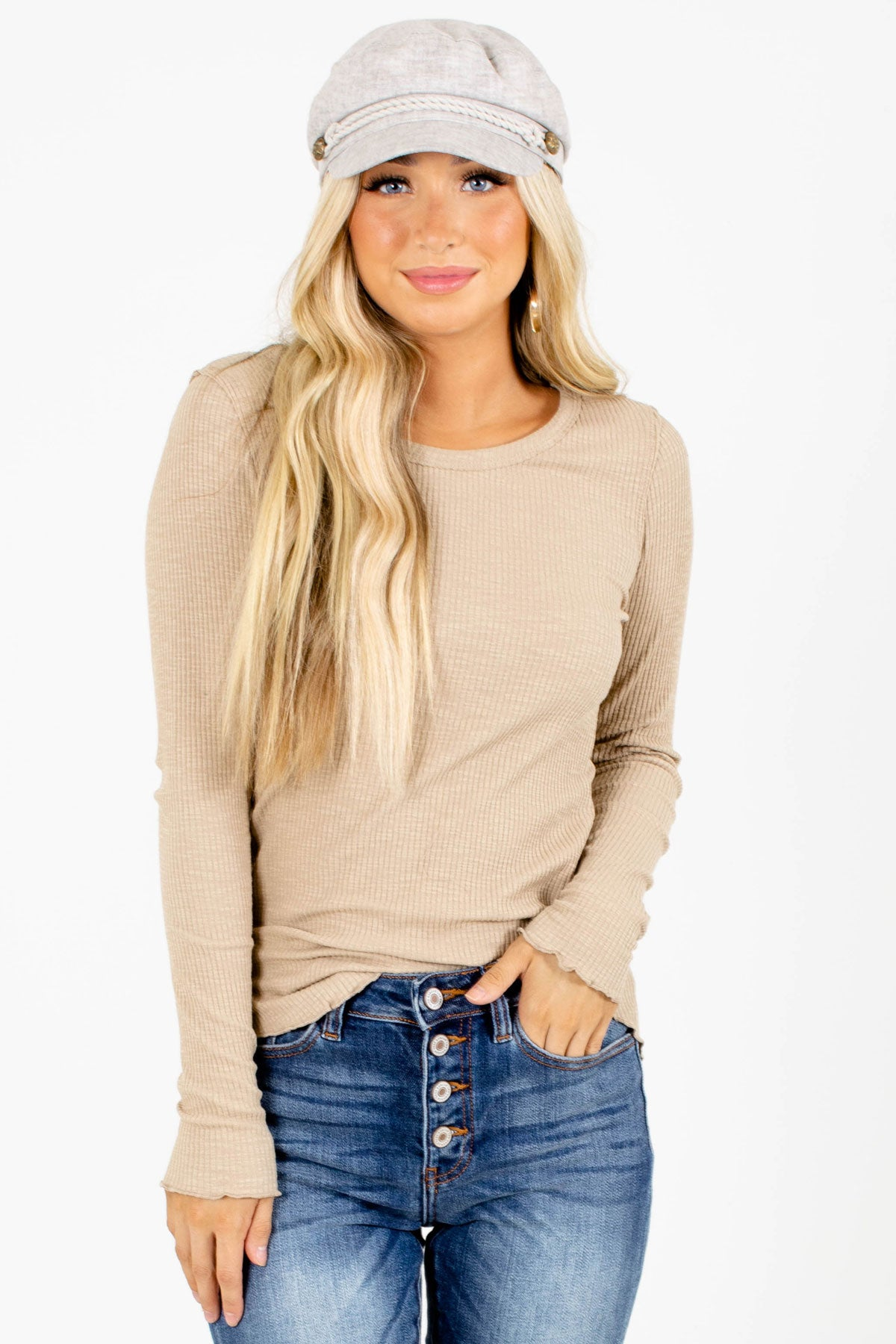 Taupe Round Neckline Boutique Tops for Women