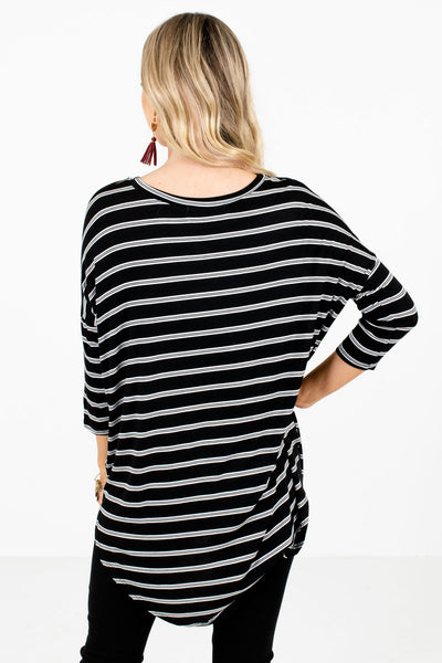Women's Black ¾ Length Sleeve Boutique Tops