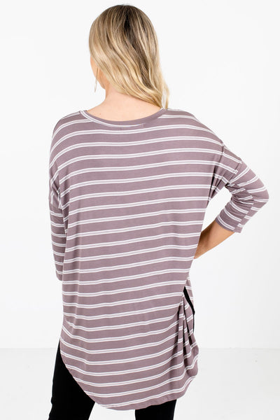 Women's Mocha Brown ¾ Length Sleeve Boutique Tops