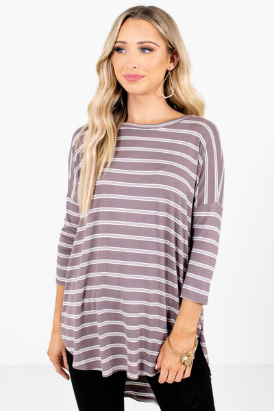 Mocha Brown and White Striped Boutique Tops for Women