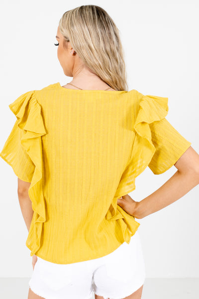 Women's Yellow High-Quality Material Boutique Blouse