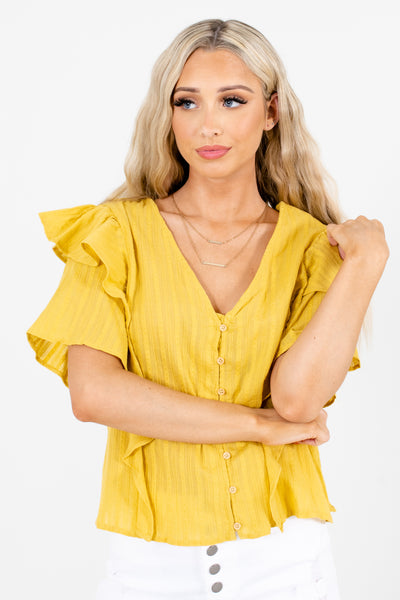 Yellow V-Neckline Boutique Tops for Women