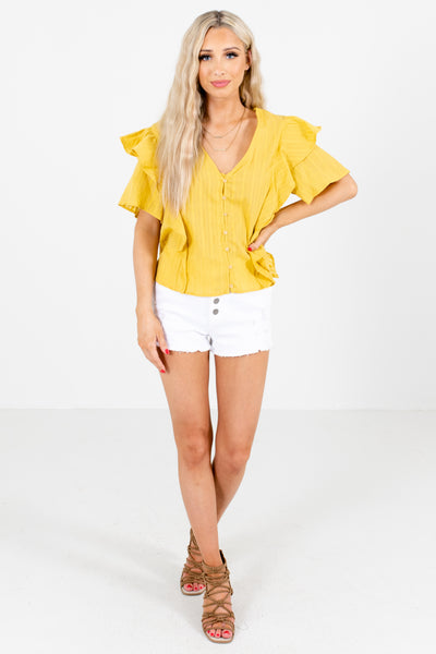 Women's Yellow Business Casual Boutique Tops