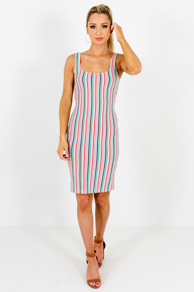 Red Blue Purple White Striped Boutique Mini Dresses for Parties