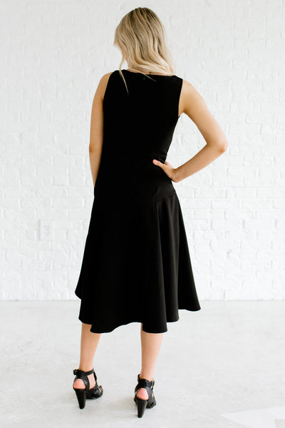 Women's Black Back Zipper Boutique Knee-Length Dress