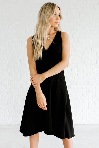 Black Knee-Length Boutique Dresses for Women