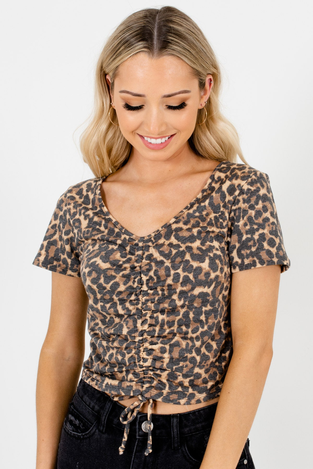 Beige Brown Leopard Print Patterned Boutique Tops for Women