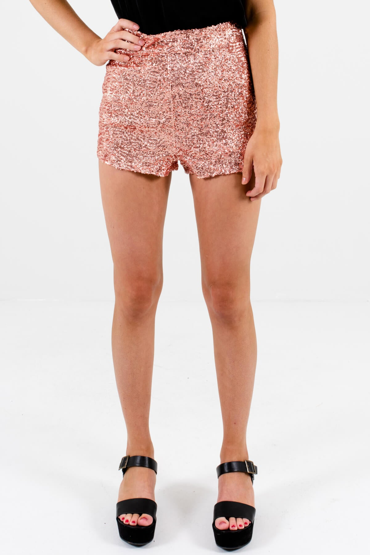 Rose Gold Pink Sequin Sparkly Short Shorts Affordable Online Boutique