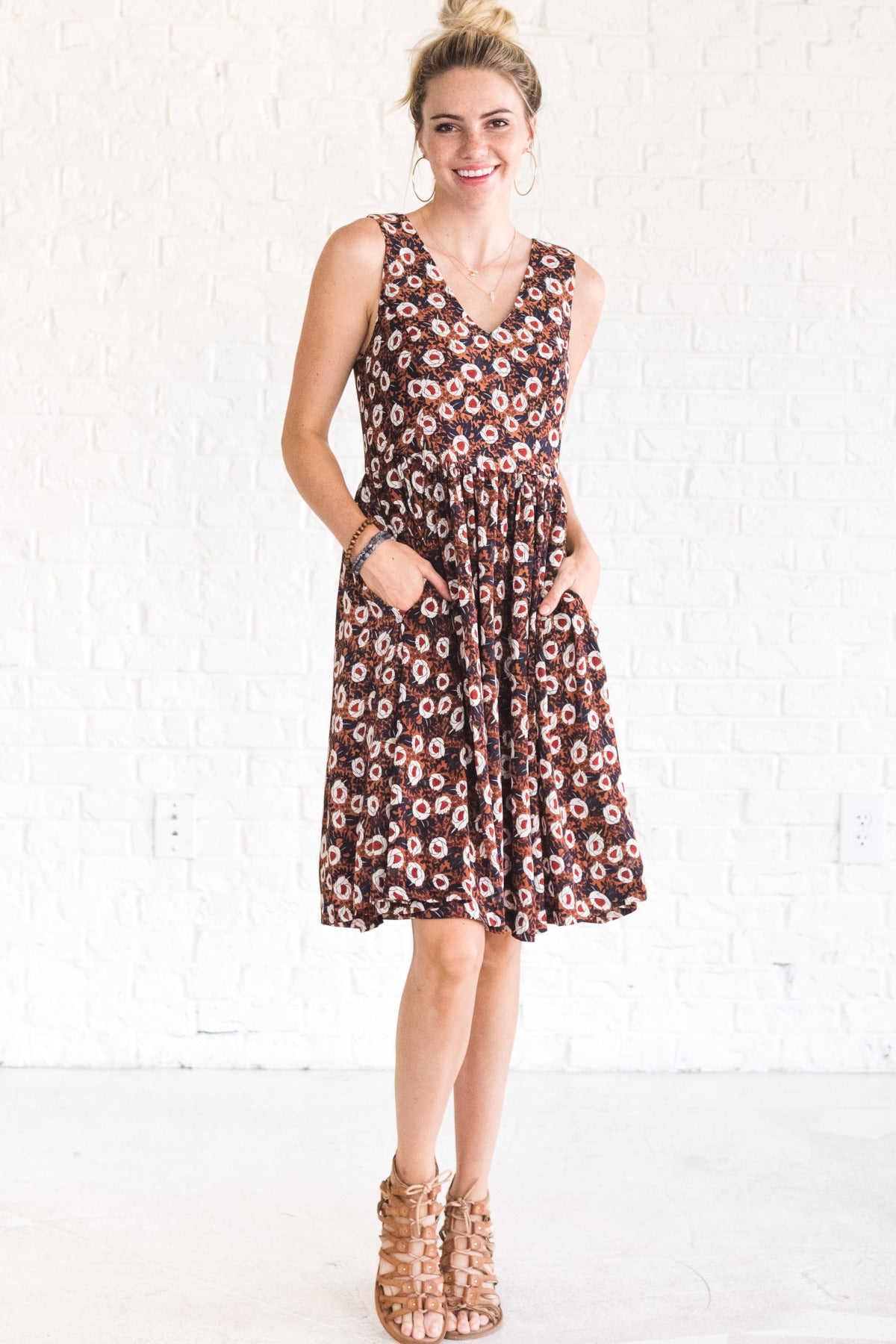 f78042fed84e Just That Simple Rust Patterned Knee-Length Dress   Fall Dresses