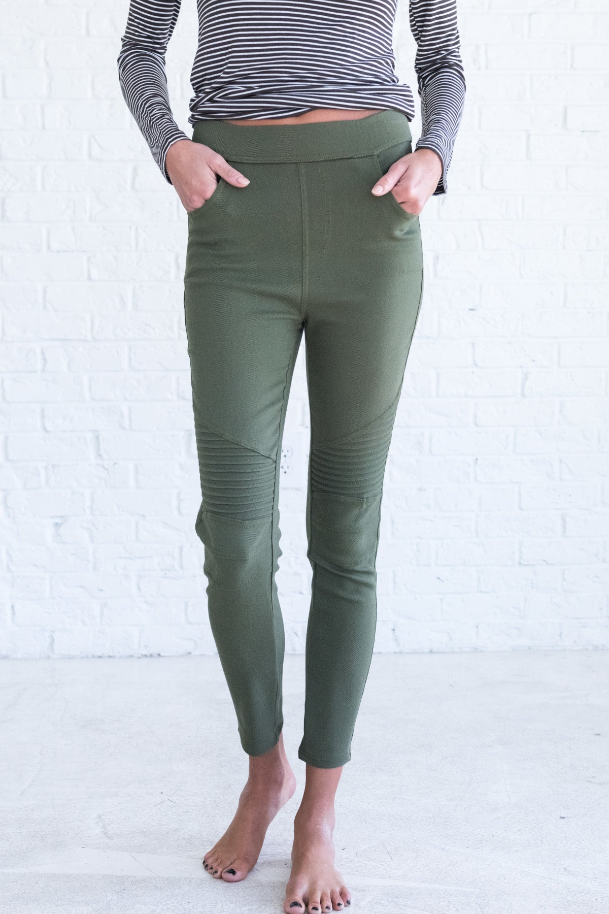 Olive Green Moto Style Jeggings for Women