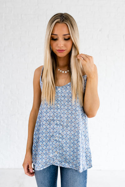 Light Blue Kaleidoscope Print Lace Racerback Satin Tank Tops