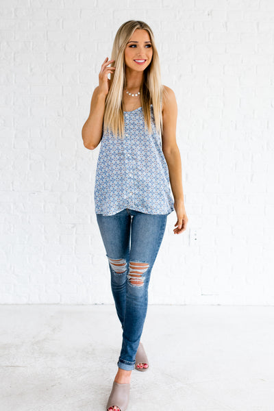 Light Blue Coral White Blue Lace Racerback Satin Printed Tank Tops
