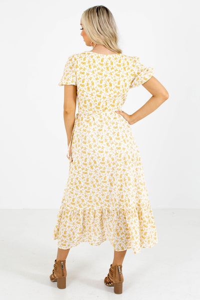 Women's Yellow Wrap Style Boutique Midi Dress