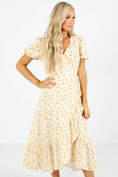 White and Yellow Floral Patterned Boutique Midi Dresses for Women