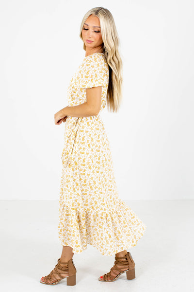 Yellow V-Neckline Boutique Midi Dresses for Women