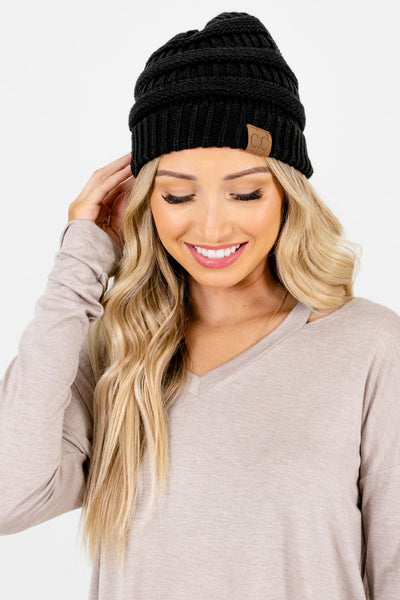 Black High-Quality Knit Boutique Beanies for Women