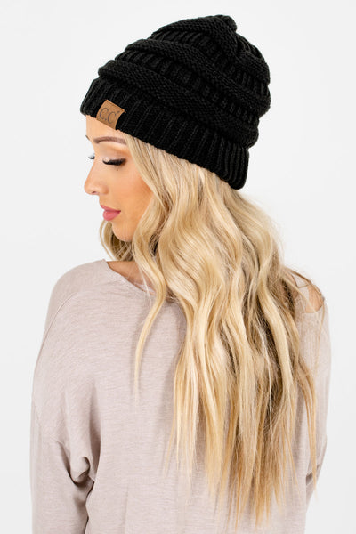 Women's Black Warm and Cozy Boutique Beanies