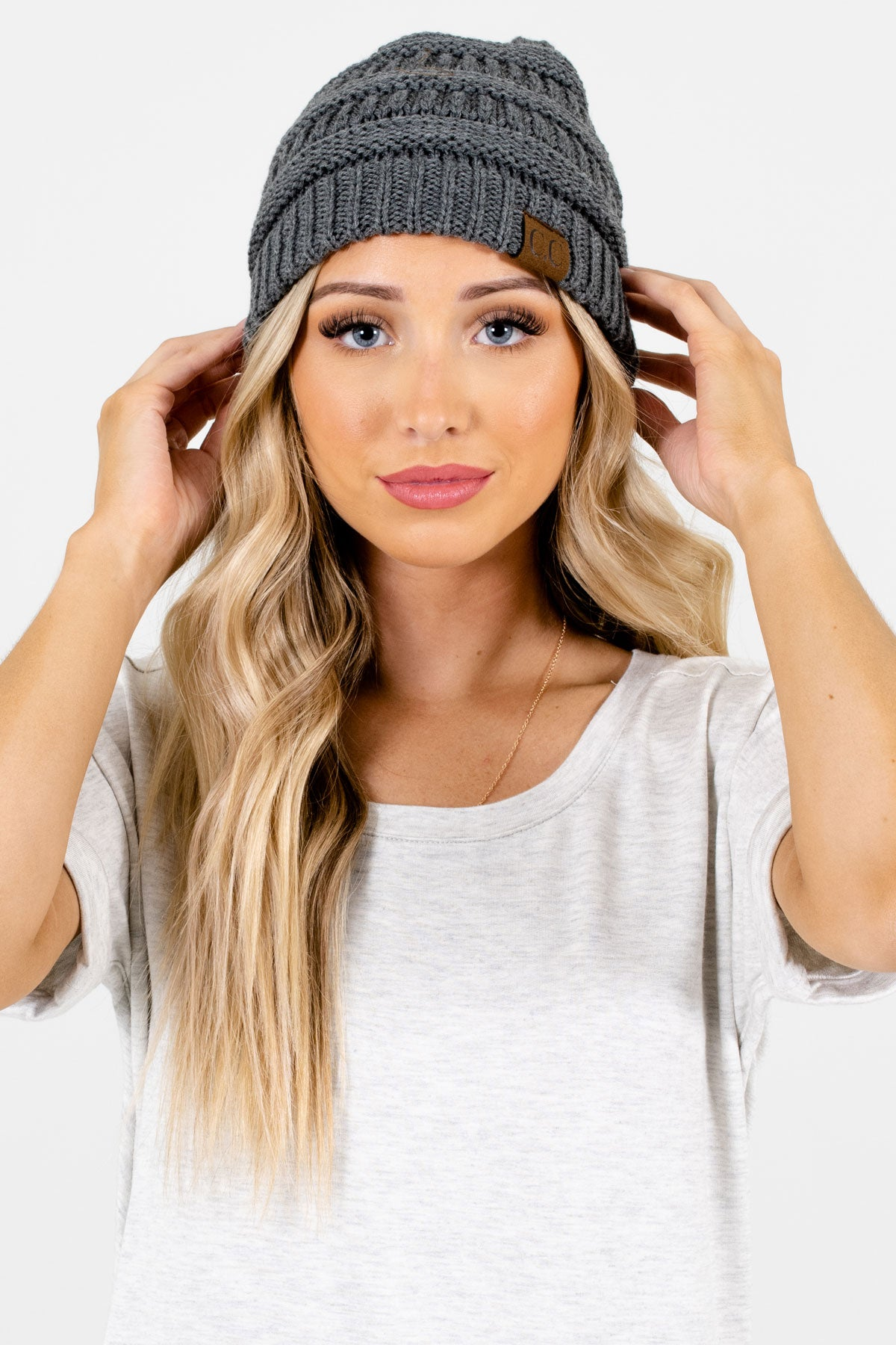 Charcoal Gray High-Quality Knit Boutique Beanies for Women