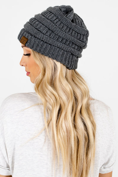Women's Charcoal Gray Warm and Cozy Boutique Beanies