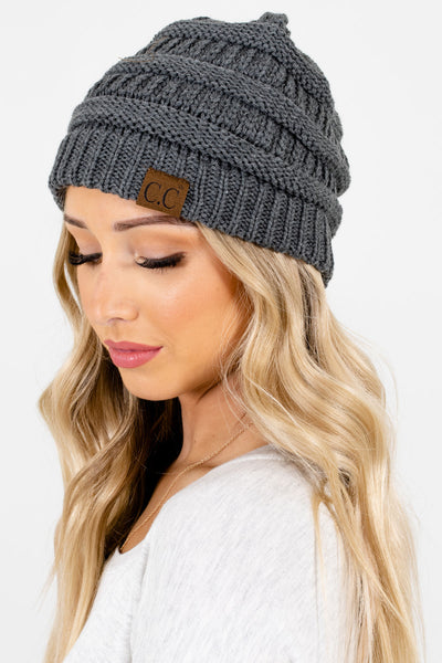Charcoal Gray Cute and Comfortable Boutique Beanies for Women