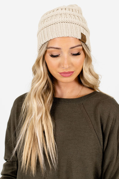 Women's Cream Warm and Cozy Boutique Beanies