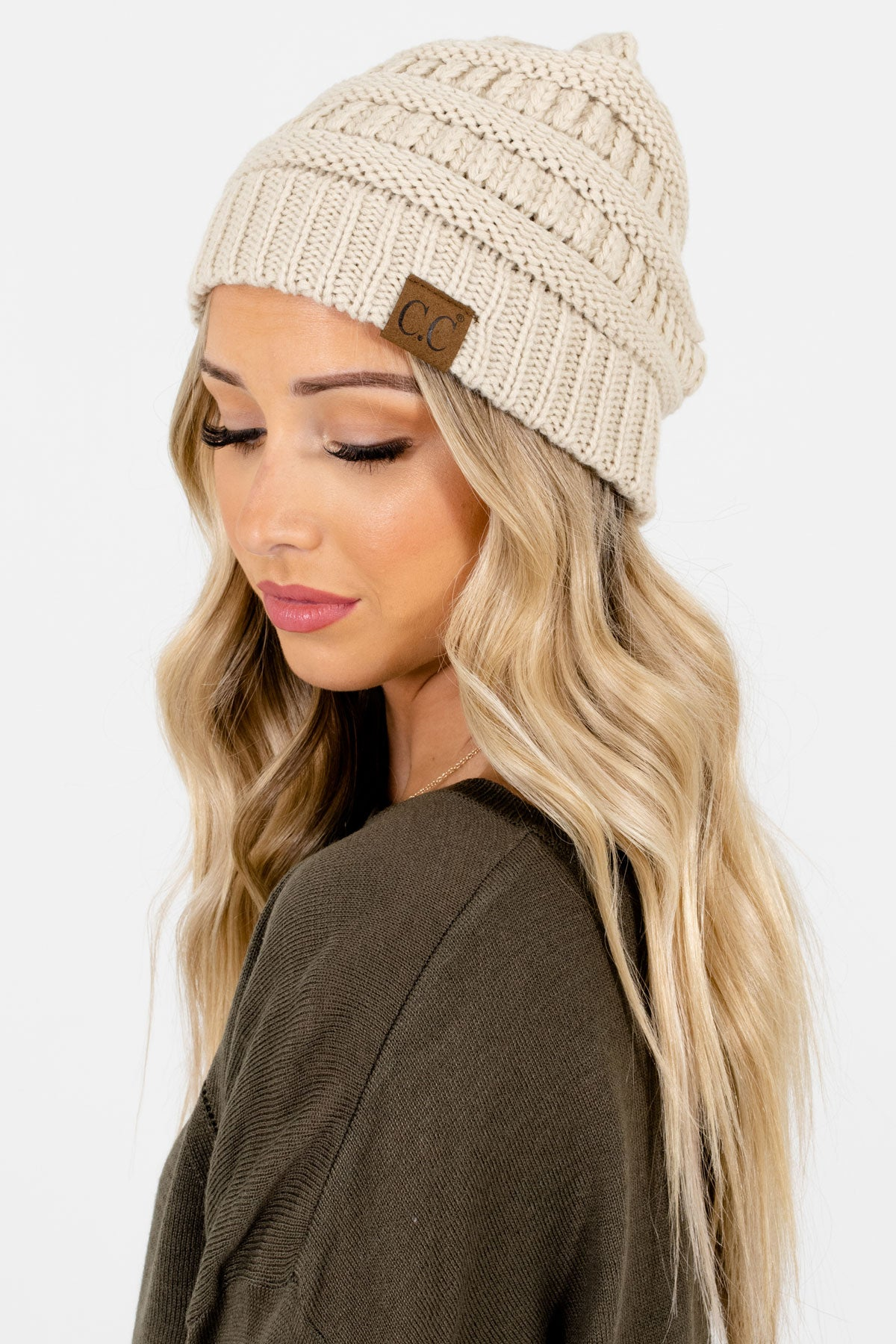 Cream High-Quality Knit Boutique Beanies for Women