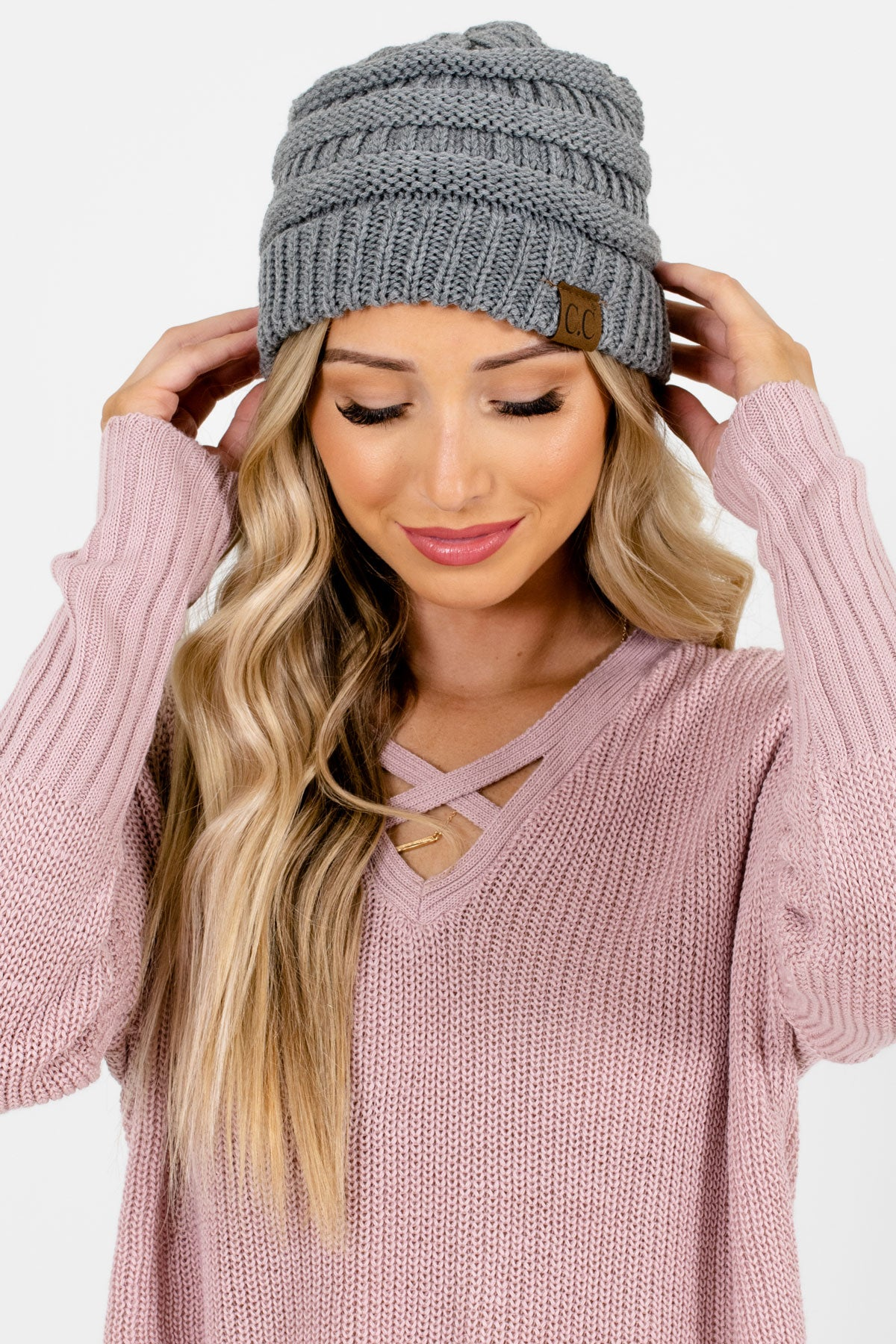 Gray High-Quality Knit Boutique Beanies for Women