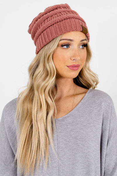Pink High-Quality Knit Boutique Beanies for Women