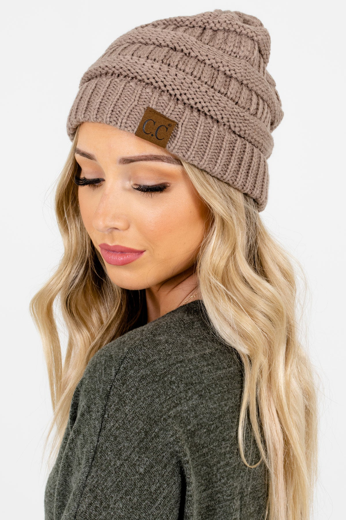 Taupe Brown High-Quality Knit Boutique Beanies for Women