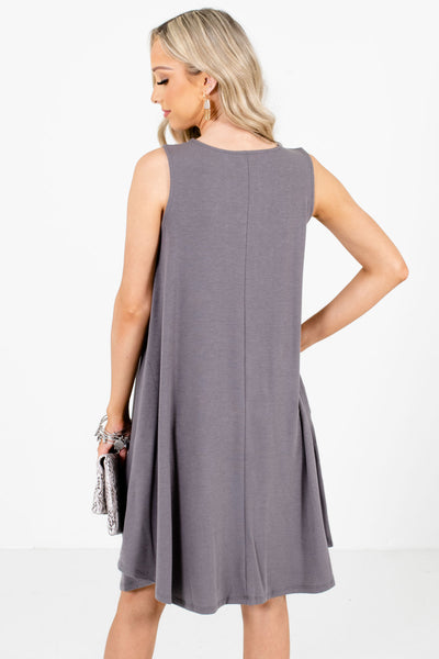 Women's Gray Lightweight Boutique Knee-Length Dress
