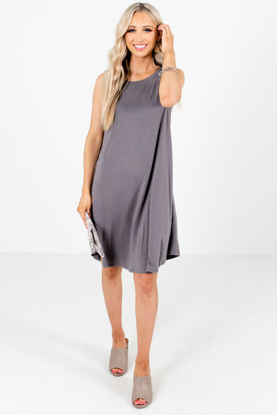 Gray Cute and Comfortable Boutique Knee-Length Dresses for Women