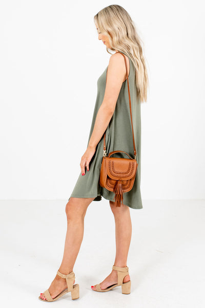 Women's Olive Green High-Quality Stretchy Material Boutique Knee-Length Dress